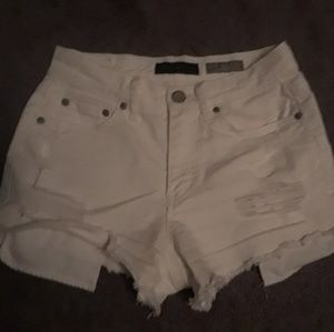 White high waisted shorty shorts